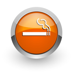 cigarette orange glossy web icon