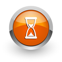 time orange glossy web icon