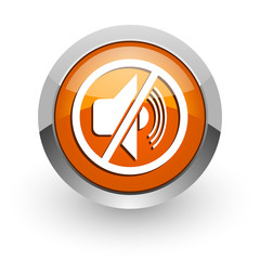 mute orange glossy web icon