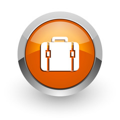 bag orange glossy web icon