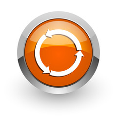 refresh orange glossy web icon