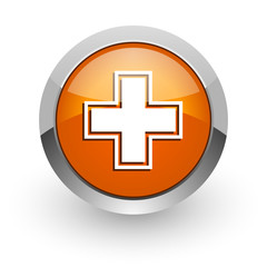 pharmacy orange glossy web icon