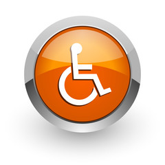 wheelchair orange glossy web icon