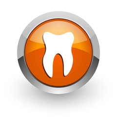 tooth orange glossy web icon