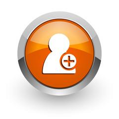 add contact orange glossy web icon
