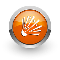 bomb orange glossy web icon