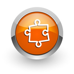 puzzle orange glossy web icon