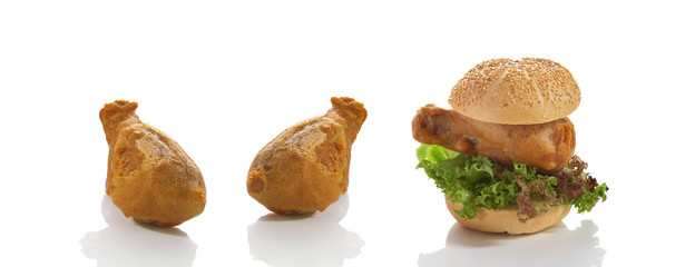 chicken burger and chicken fried on white background
