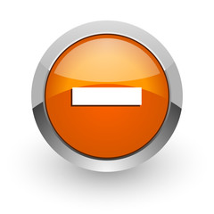 minus orange glossy web icon