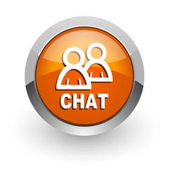 chat orange glossy web icon