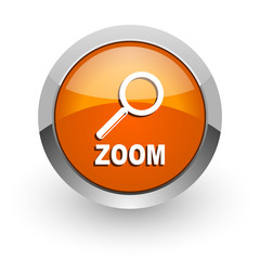 zoom orange glossy web icon