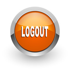 logout orange glossy web icon