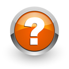 question mark orange glossy web icon
