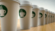 Paper Coffee Cups In a Row - 68142617