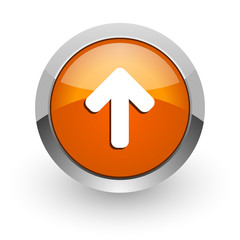 up arrow orange glossy web icon