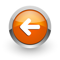 left arrow orange glossy web icon