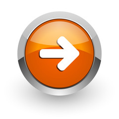 right arrow orange glossy web icon