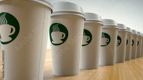 Foto op Canvas Koffie Paper Coffee Cups In a Row