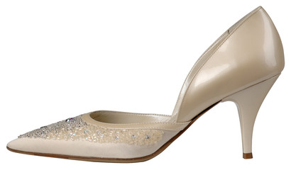 Female shiny beige patent-leather shoe with high heel