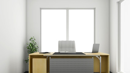 3d render of small or medium sized corner office