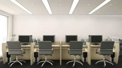 3d render of office cubicles with computers and chairs