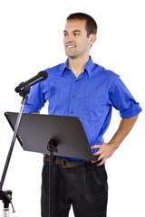 businessman on a podium making a speech or announcement