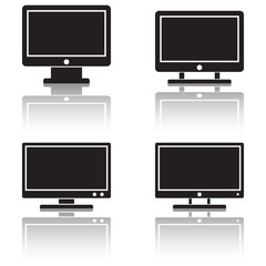 Monitor icons vector set