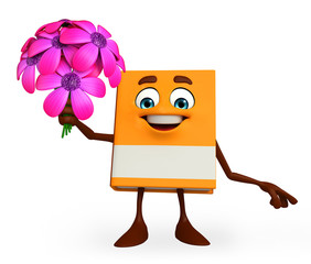 Book Character with flowers
