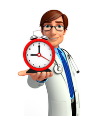 Young Doctor with table clock