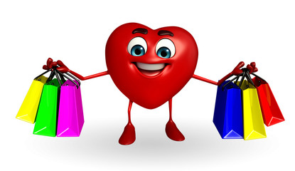 Heart Shape character with shopping bag