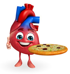 Heart character with pizza