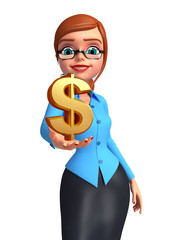 Young office girl with dollar sign