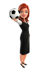 Young Business Woman with football