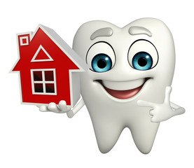 Teeth character with home