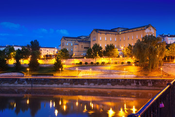 night Logrono from bridge over Ebro