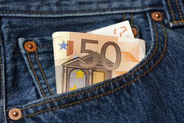 50 euro banknote in a pocket