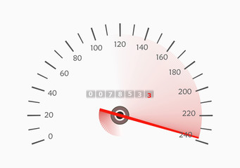 Speedometer with moving arrow. Vector illustration