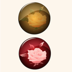 set of icon retro style, circle rose button illustration