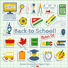 School background icon set.