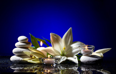 spa still life with  flower,   stones and   candles