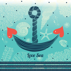 Sea background, marine fauna hand drawn elements