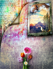 Grafffiti background with landscape in frame and colored flowers