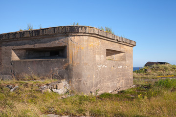 Old concrete bunker on Totleben fort island in Russia