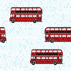 Seamless pattern with double-decker buses under the rain
