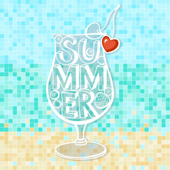 Summer background.Poster, vector.