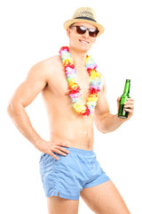 Shirtless guy holding a bottle of beer