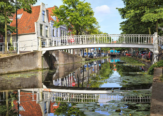 White bridge in Delft, Netherlands