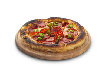 pizza with sausages and chilies
