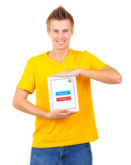 Concept for Internet shopping: young man with tablet isolated