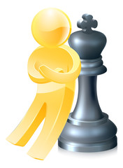 Chess king gold man